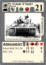 Tiger I Unit Card